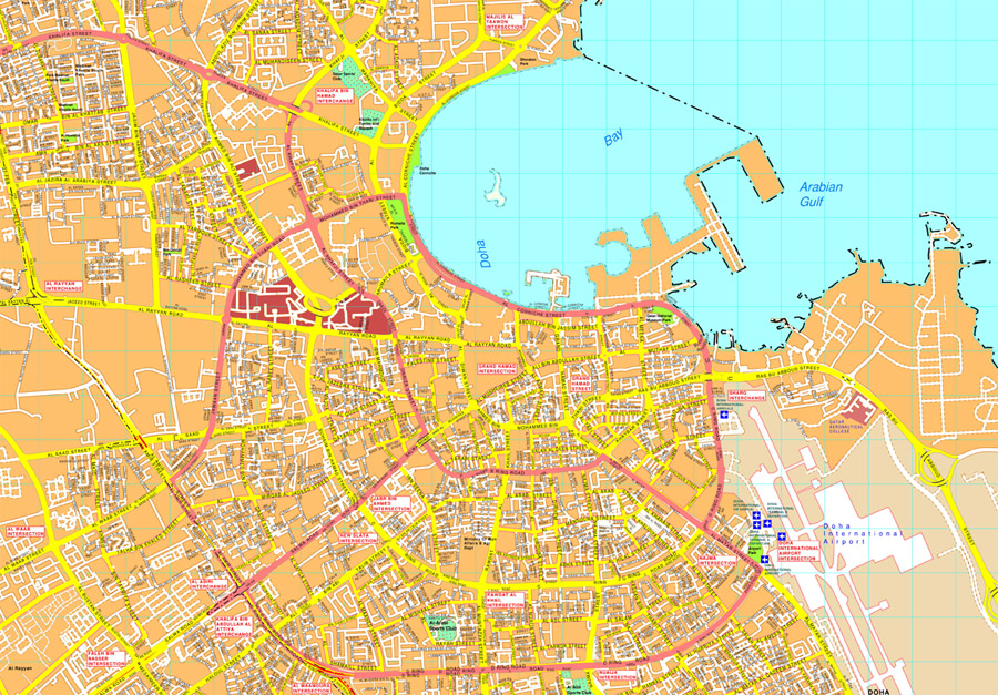 Vector Maps Of Cities Doha Vector map. EPS Illustrator Vector Maps of Asia Cities. Eps