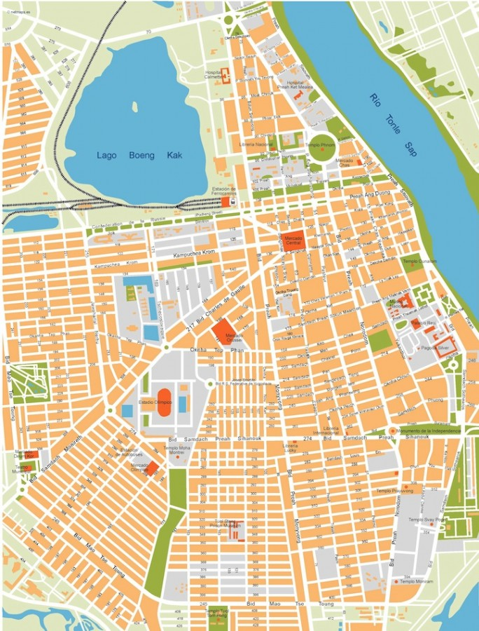phnom penh vector map