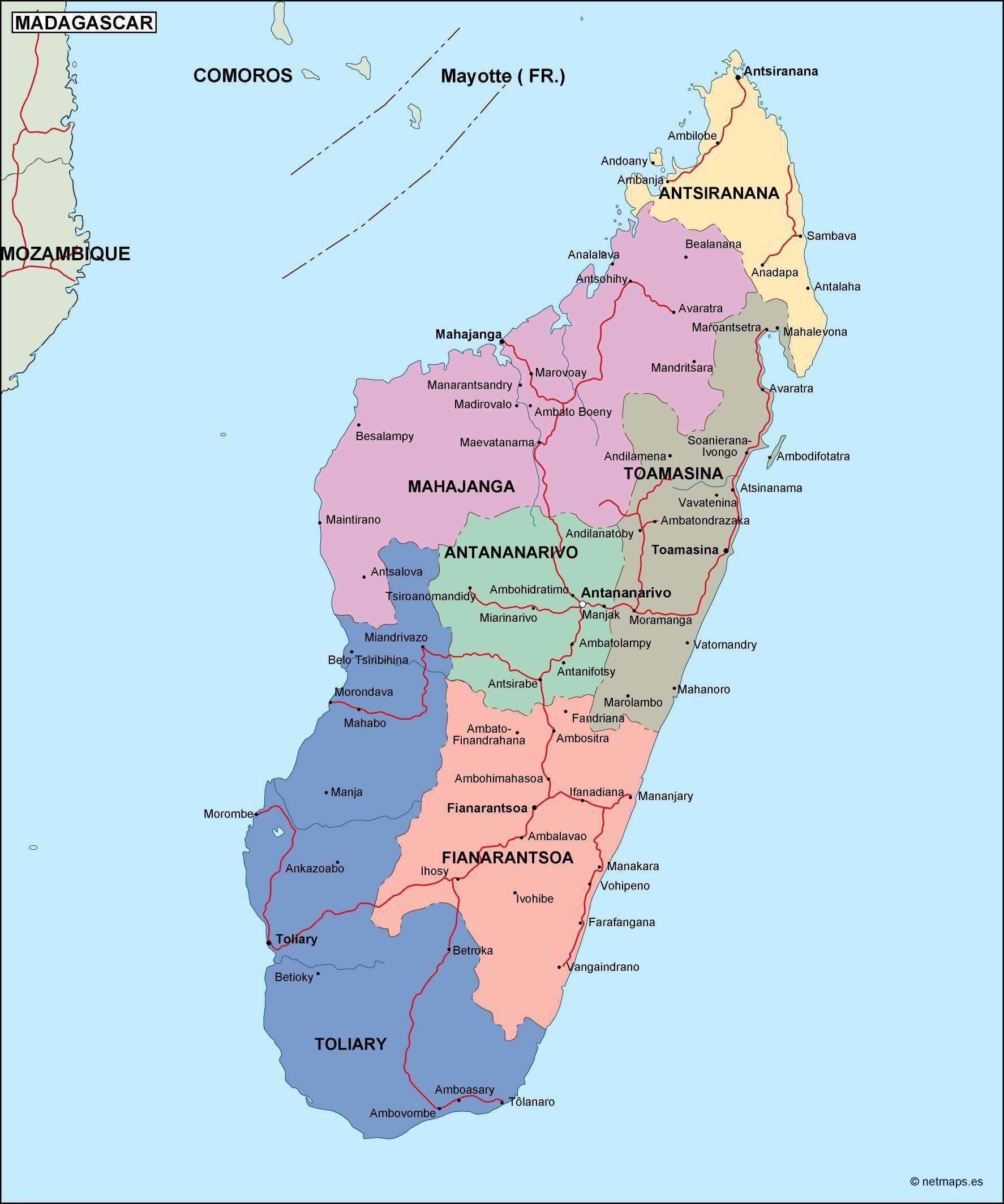 Madagascar Political Map Vector Eps Maps Eps Illustrator Map