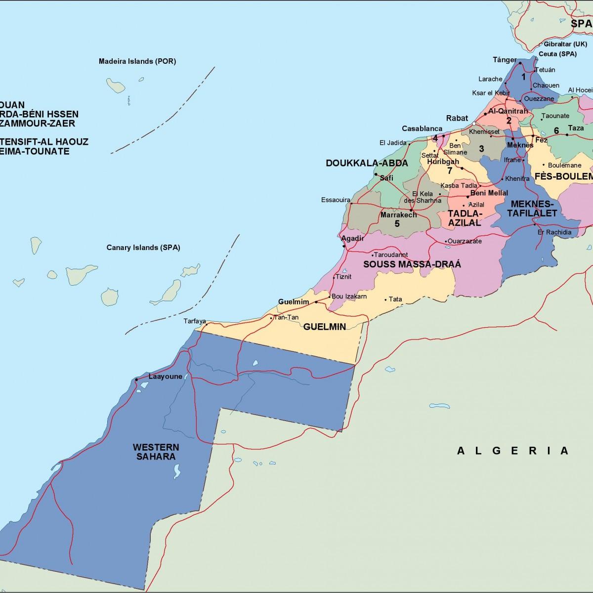 morocco political map on saudi arabia map, angola map, ghana map, egypt map, europe map, sierra leone map, algeria map, mali map, mexico map, malawi map, cameroon map, mauritania map, liberia map, senegal map, moldova map, chad map, italy map, nigeria map, brazil map, japan map, spain map, kenya map, india map, iraq map, rwanda map, lesotho map, israel map, south africa map, eritrea map, mauritius map, namibia map, tunisia map, mozambique map, poland map, libya map, france map, western hemisphere map, niger map,