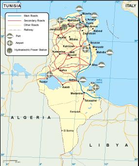 Tunisia transportation map. EPS Illustrator Map | Vector World Maps