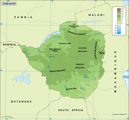 Map Of Africa Showing Zimbabwe.Zimbabwe Physical Map
