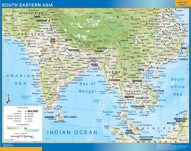 south eastern asia magnetic map