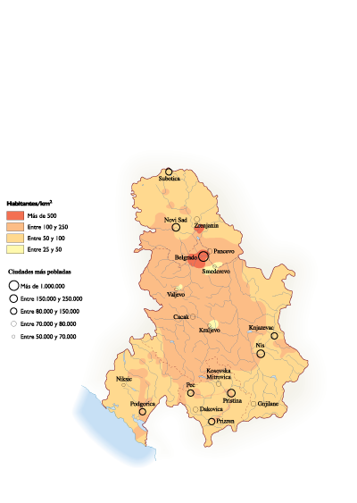 Serbia Population map